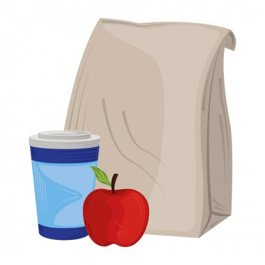 Takeaway coffee cup apple and paper bag icon isolated design vector illustration vector illustration icon