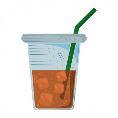 Tea plastic cup with straw and ice cubes icon vector illustration icon