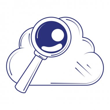 Social media cloud computing analysis blue line fill style vector illustration icon