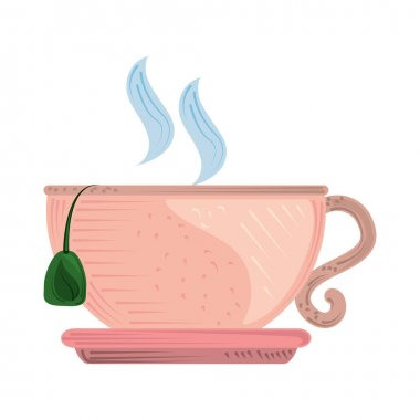 Hot tea cup with saucer fresh beverage icon vector illustration icon