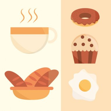 Breakfast bread cupcake fried egg coffee food menu in cartoon flat icons set vector illustration icon