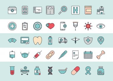 Health medical equipment medicine icons pack vector illustration line and fill icon