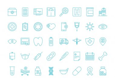 Health medical equipment medicine icons pack vector illustration line icon