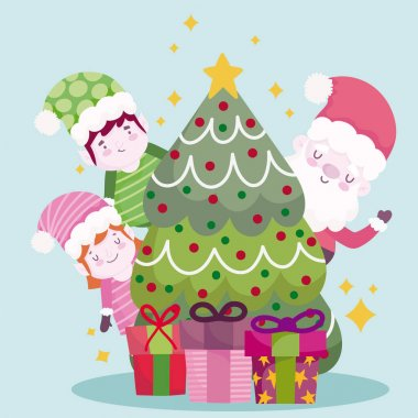 Merry christmas, cute santa helpers tree and gifts design vector illustration icon