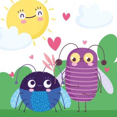 Cute bugs on grass with hearts sun sky cartoon vector illustration icon