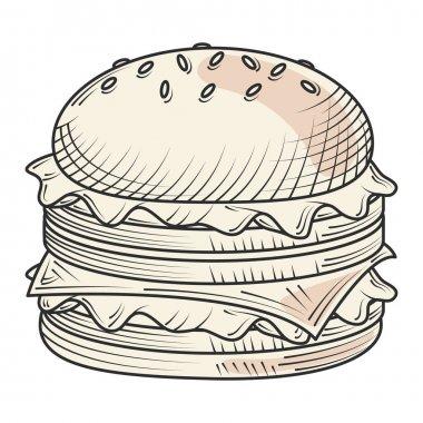Hamburger fast food and snacks hand drawn style vector illustration icon