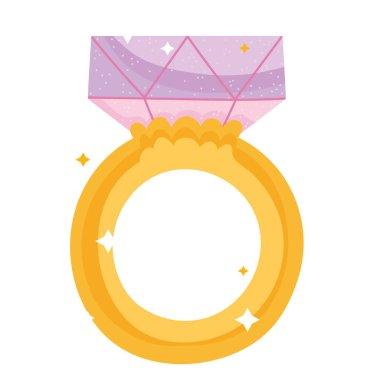 Cartoon ring diamond gem jewelry icon vector illustration icon