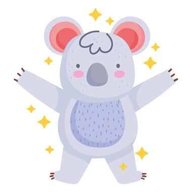 Cute koala animal wild cartoon icon flat style vector illustration icon