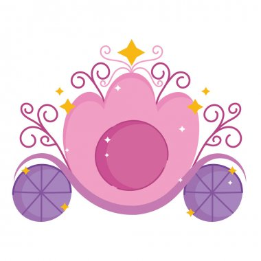Princess carriage fairytale transport cartoon icon vector illustration icon