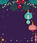 šťastný nový rok koule s cesmínou listy vánoční oslavy karty šablony