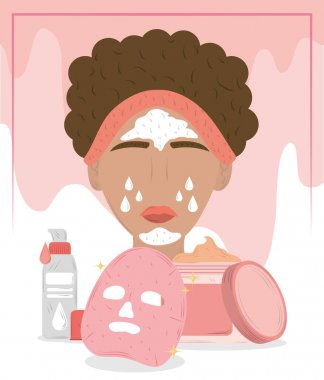 Woman with cosmetic face mask, cleansing treatment and beauty routine vector illustration icon