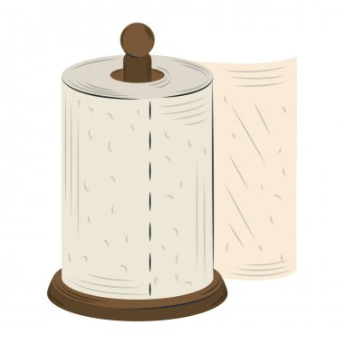 Cartoon kitchen paper towel isolated design vector illustration icon