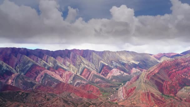 Timelapse View on the famous Hornocal o Cerro De 14 Colores mountain with 14 colors near the town of Humahuaca, Argentina