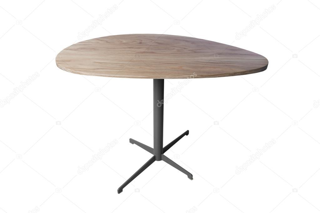 Ronde houten tafel geïsoleerd op witte achtergrond u stockfoto