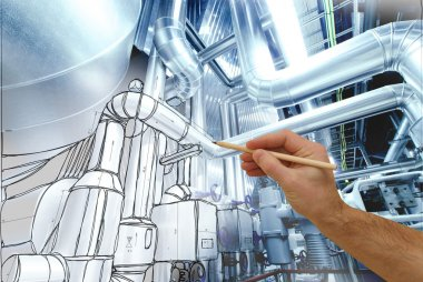 man's hand draws a design of factory combined with photo of mode