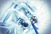 Fotografie náčrt potrubí konstrukce smíšené s průmyslové zařízení Foto