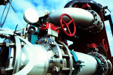 Industrial zone, Steel pipelines, valves and pumps