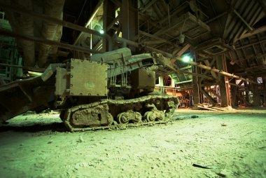 Old creepy, dark, decaying, destructive, dirty factory
