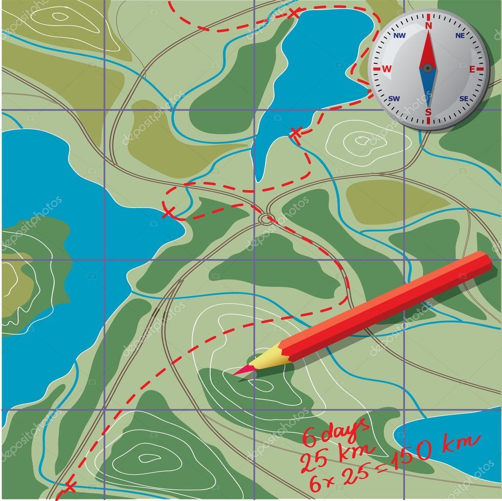 beräkna avstånd karta Vi ritar på kartan, beräkna avståndet — Stock Vektor © gray1311  beräkna avstånd karta