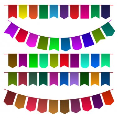 Set of multicolored flags for design