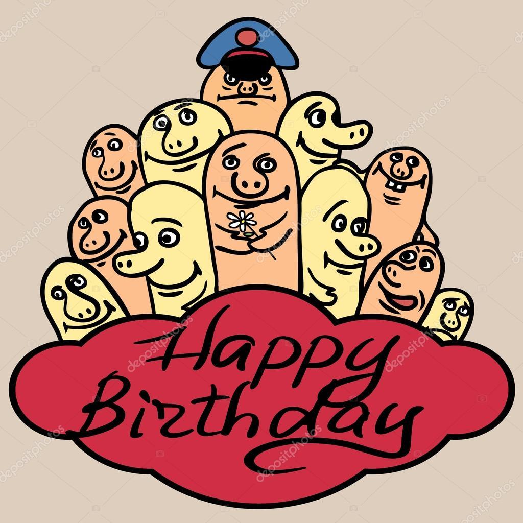 grattis på födelsedagen roliga kort Printgreeting kort Grattis på födelsedagen. Liten rolig monster  grattis på födelsedagen roliga kort