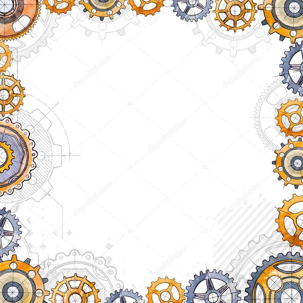 Gears gears under construction blueprint stock vector under construction blueprint watercolor illustration vector by brontazavra malvernweather Images