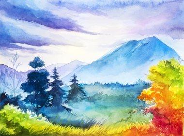 """Картина, постер, плакат, фотообои """"Осенний пейзаж. Акварельные иллюстрации."""", артикул 122158372"""