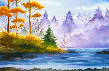 """Картина, постер, плакат, фотообои """"Осенний пейзаж. Акварельные иллюстрации."""", артикул 122162988"""
