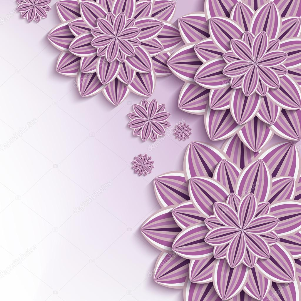 Modern background with purple 3d paper flowers