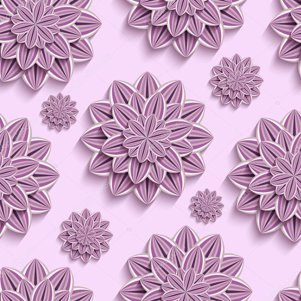 Seamless pattern with purple 3d paper flowers
