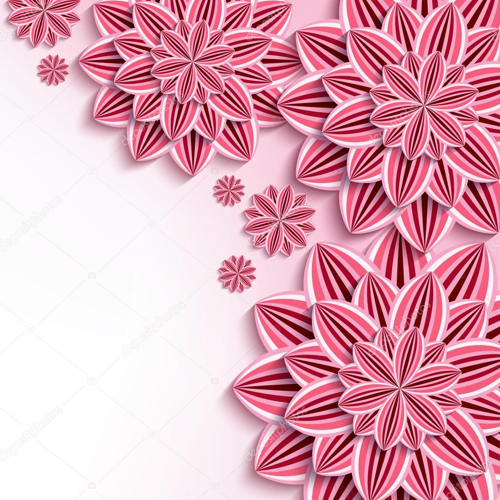 Modern background with pink 3d paper flowers