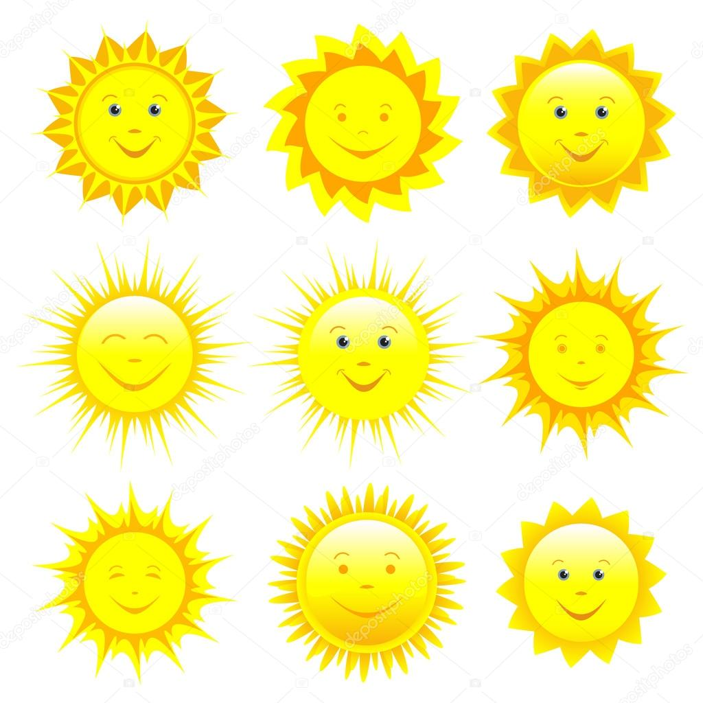 Set of smiling sun over white
