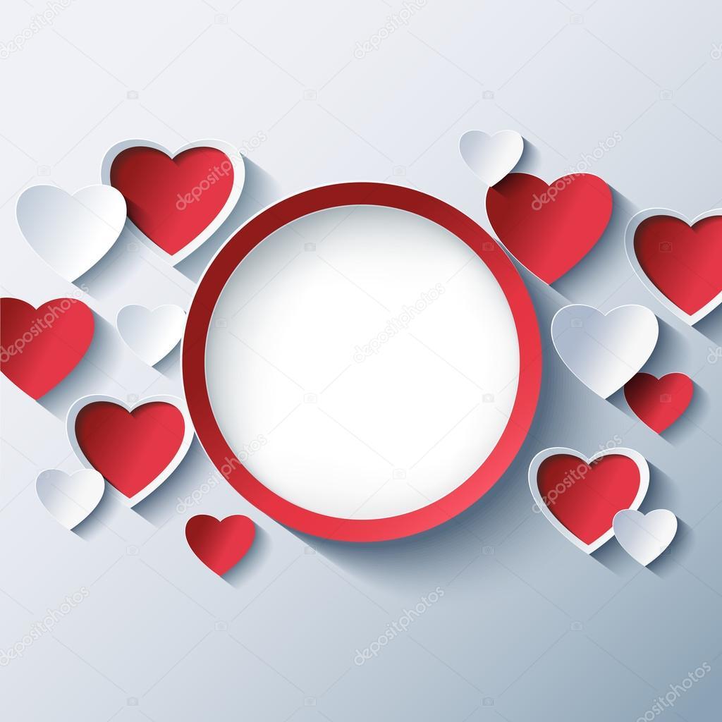 Fondo de amor, marco de día de San Valentín con corazones 3d ...