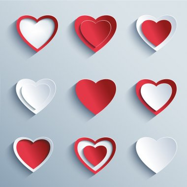 Set of trendy icons - red and white paper 3d hearts for Valentines Day, wedding, birthday, isolated on gray background. Elements of modern design. Vector illustration stock vector