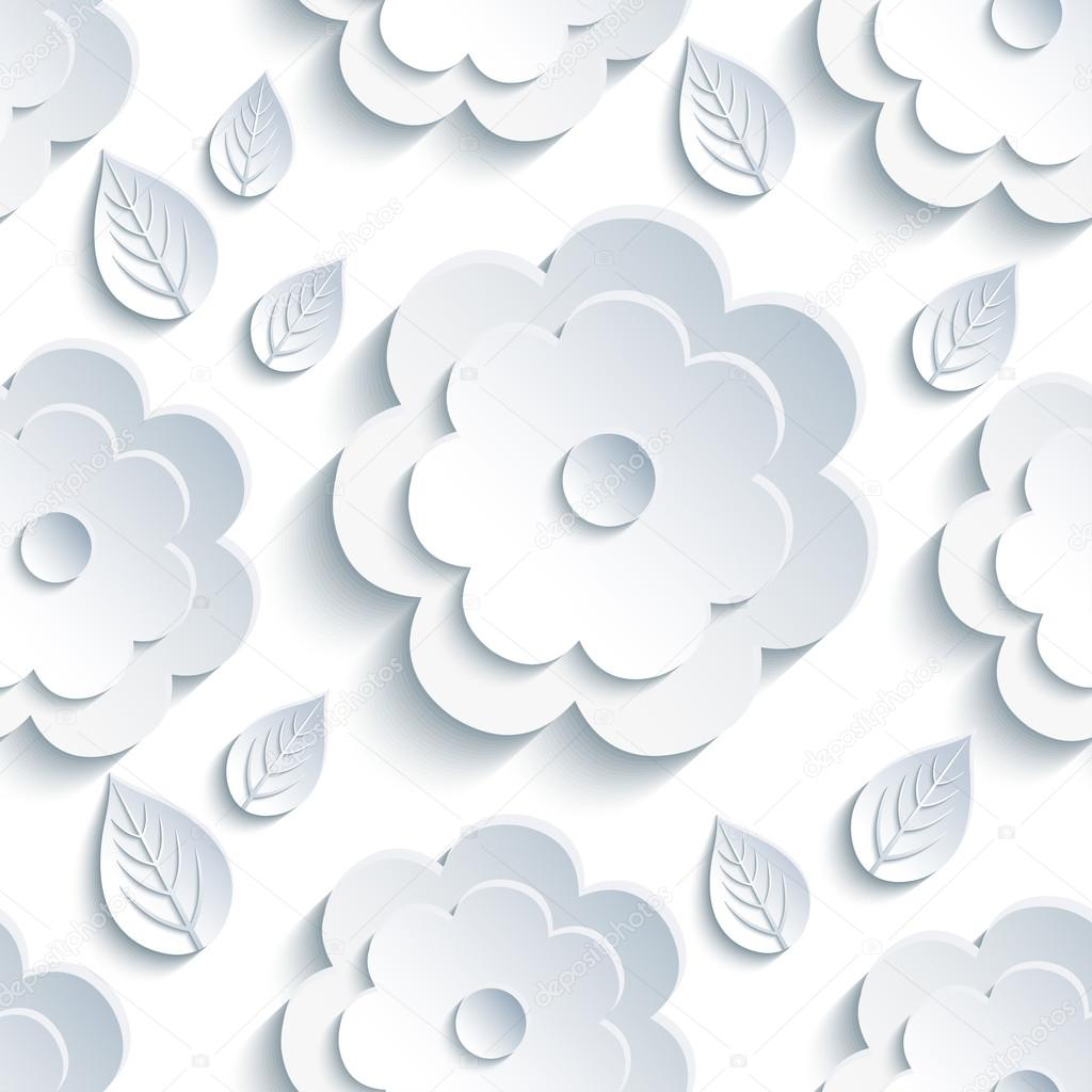 Background seamless pattern with grey flowers and leaves