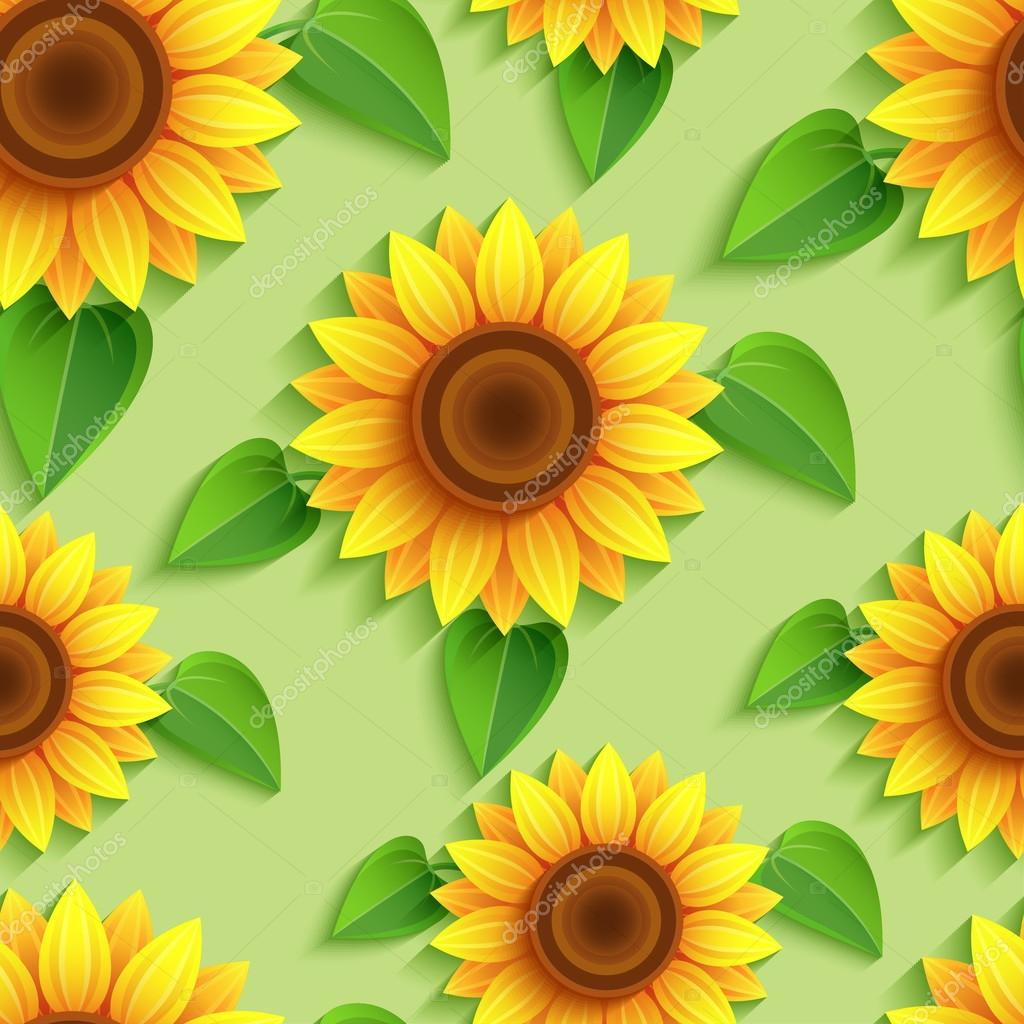 Floral seamless pattern with 3d sunflowers