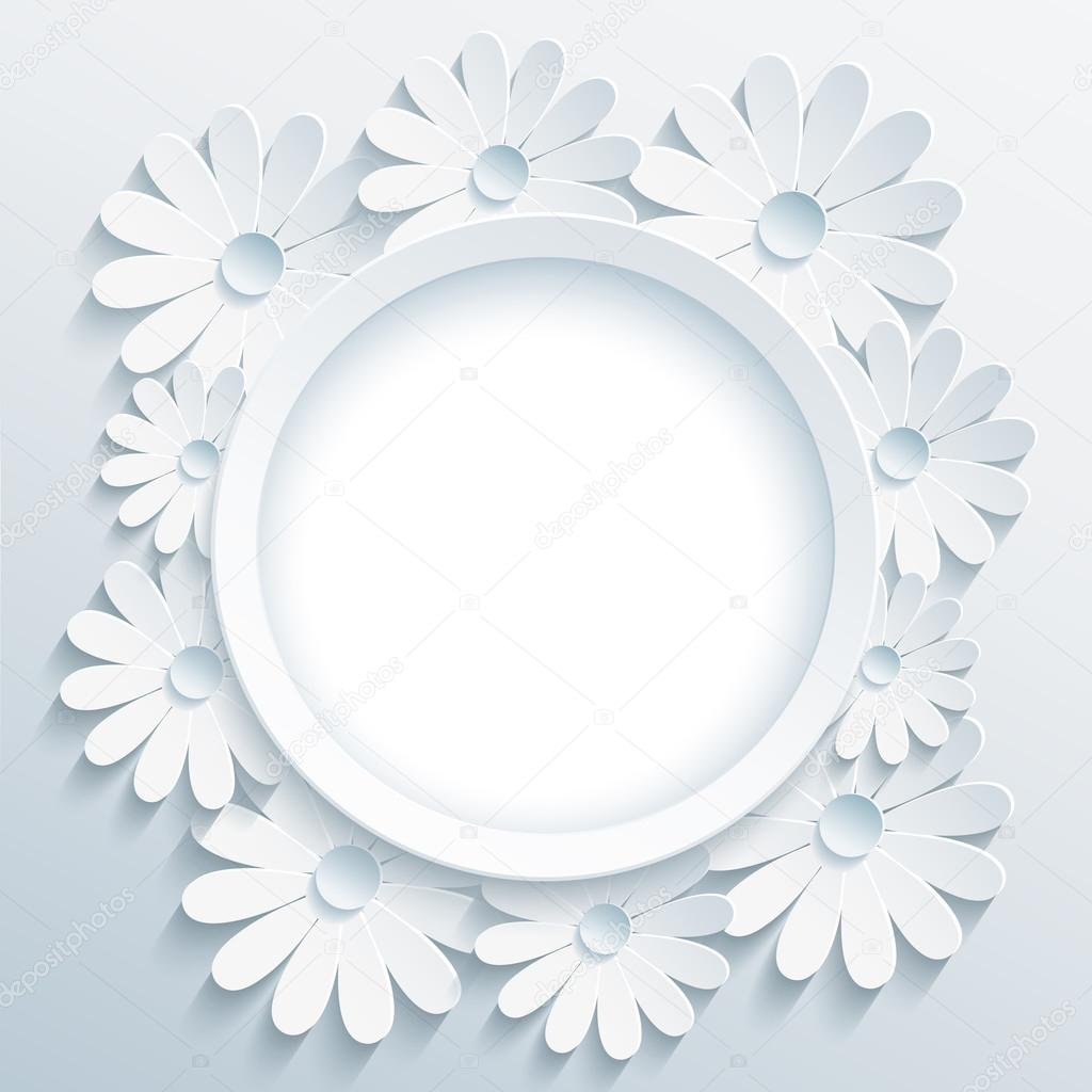 Round grey frame with 3d white chamomile