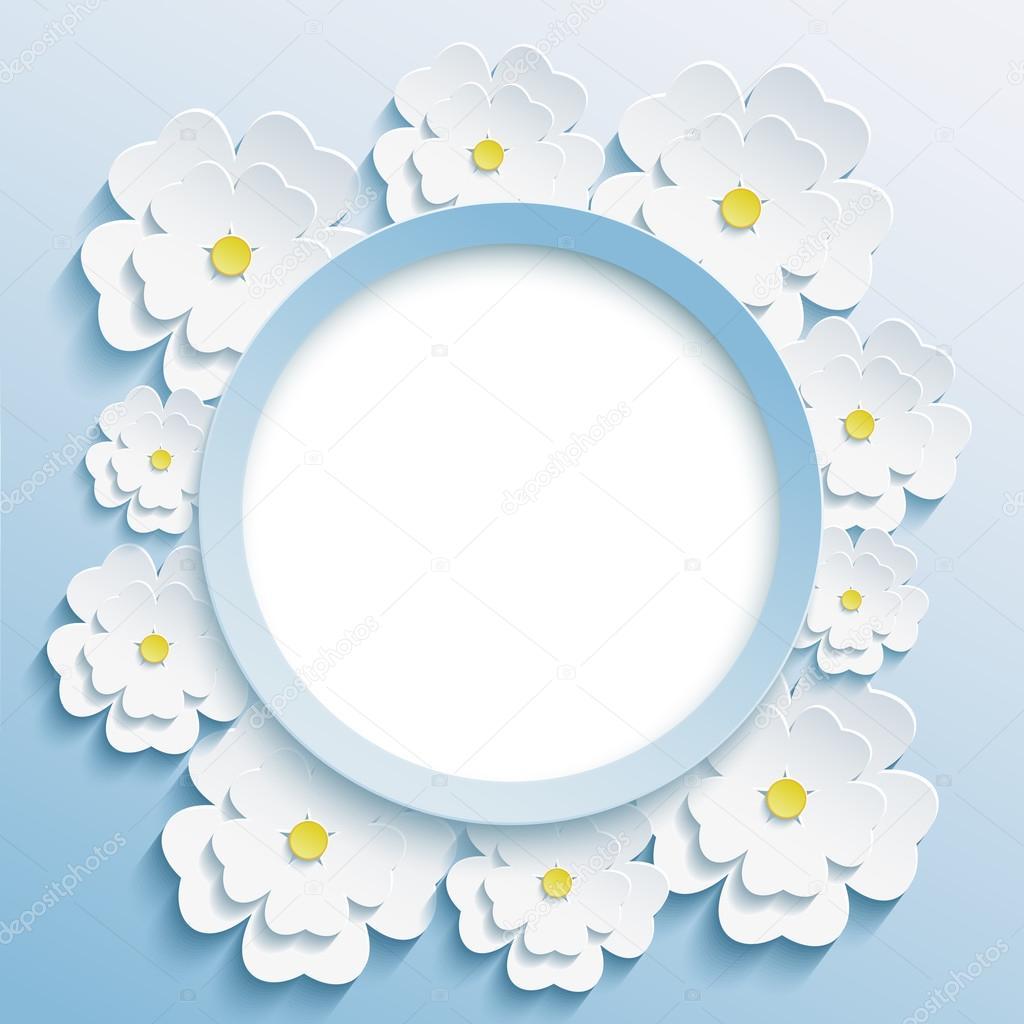 Round blue frame with 3d white sakura