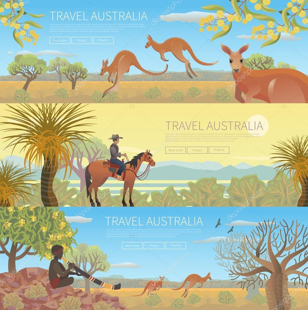 Set of Australian travel posters