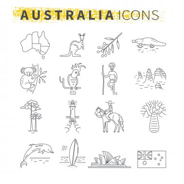 Set of thin line icons . Australian travel theme
