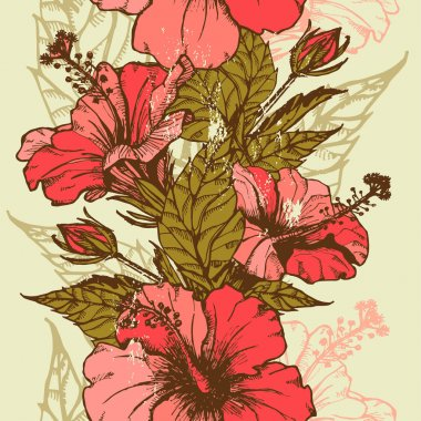 Hibiscus flowers seamless border