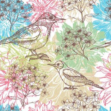 Hand drawn dahlia flowers and birds l seamless pattern