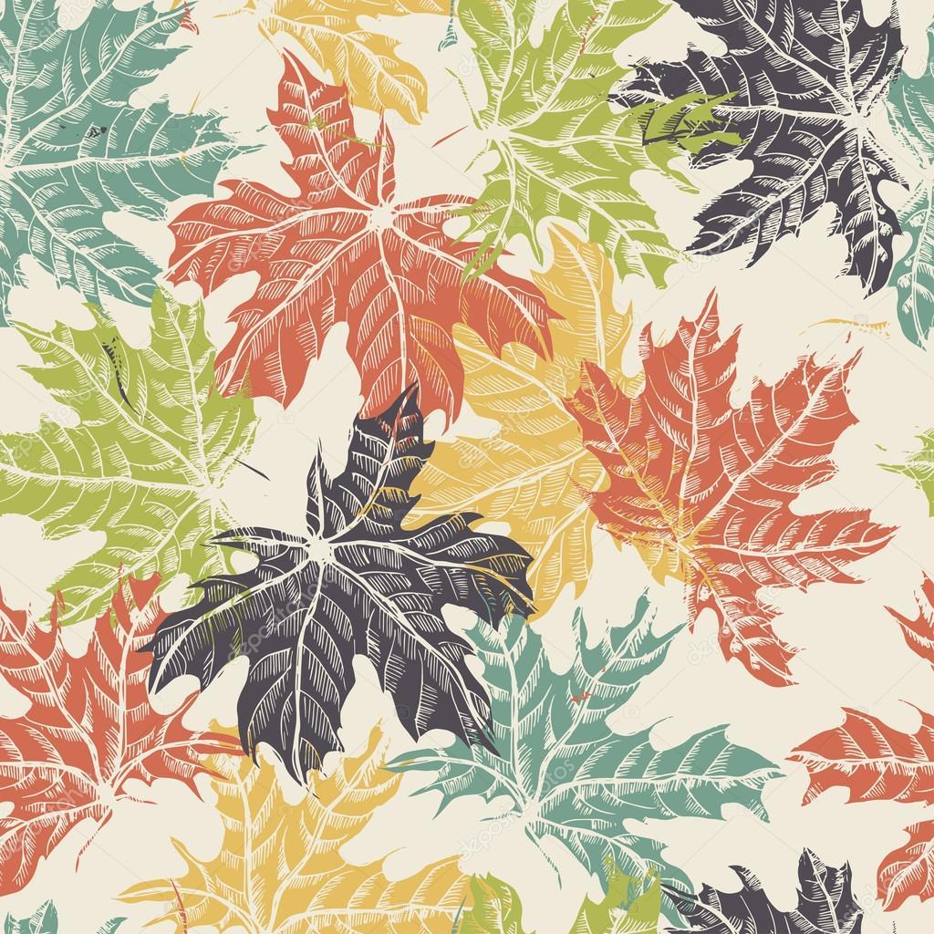 Hand drawn  maple leaves vintage seamless pattern