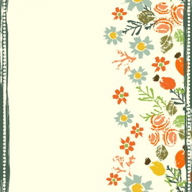 Hand painted textured forest flowers and berries seamless border