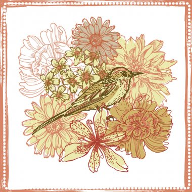 Hand drawn vintage botanical theme card with bird