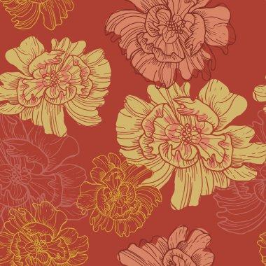 Hand drawn japanese style botanical  seamless pattern