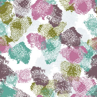Hand painted textured  seamless pattern in emerald and pink