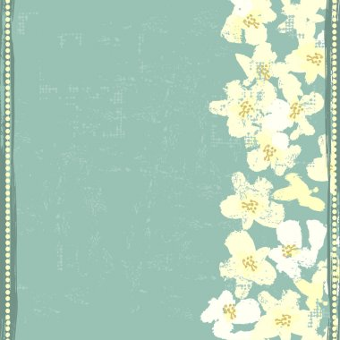Hand painted textured white spring flowers  vertical seamless bo