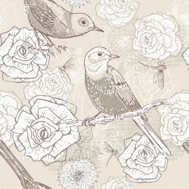 Hand drawn vintage  floral seamless pattern in craft paper tones