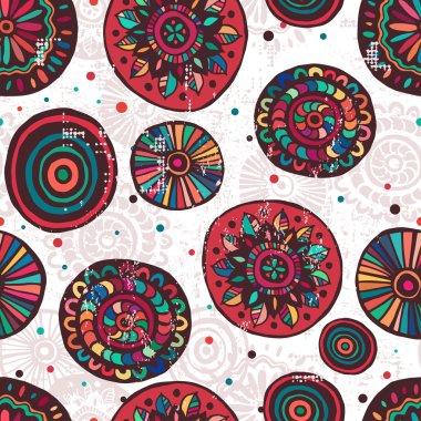 Hand made motley mandalas seamless pattern